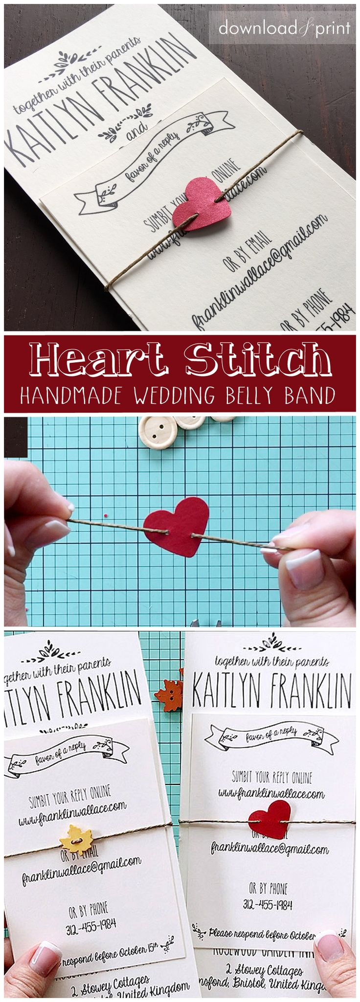 Sweet and simple invitation belly band that any bride can DIY.