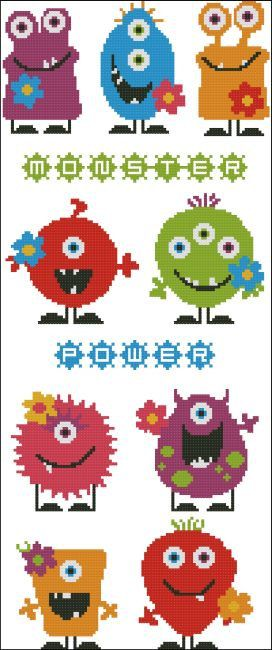 Monster Cross Stitch PDF Chart. $7.50, via Etsy. {minus the flowers, and enlarge them}