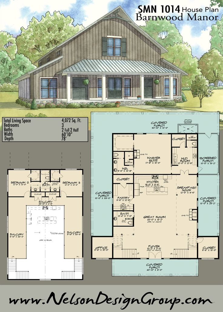 Houseplan homedesign homesweethome rustic barn barn for Barn style house plans with wrap around porch
