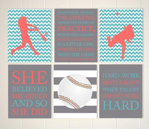 Softball girls room wall art, teen girl gift idea, softball wall art, tween girl…