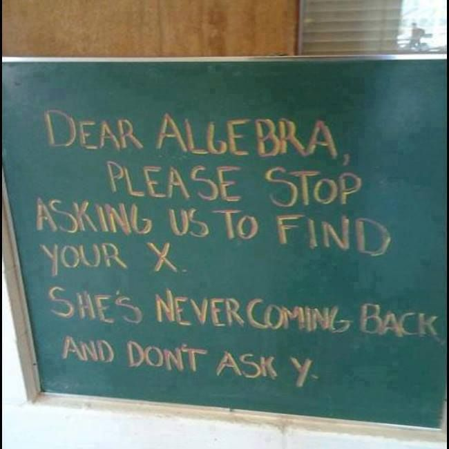 Dear Algebra: Please stop asking us to find your X. She's ... Dear Math Stop Asking Me To Find Your X