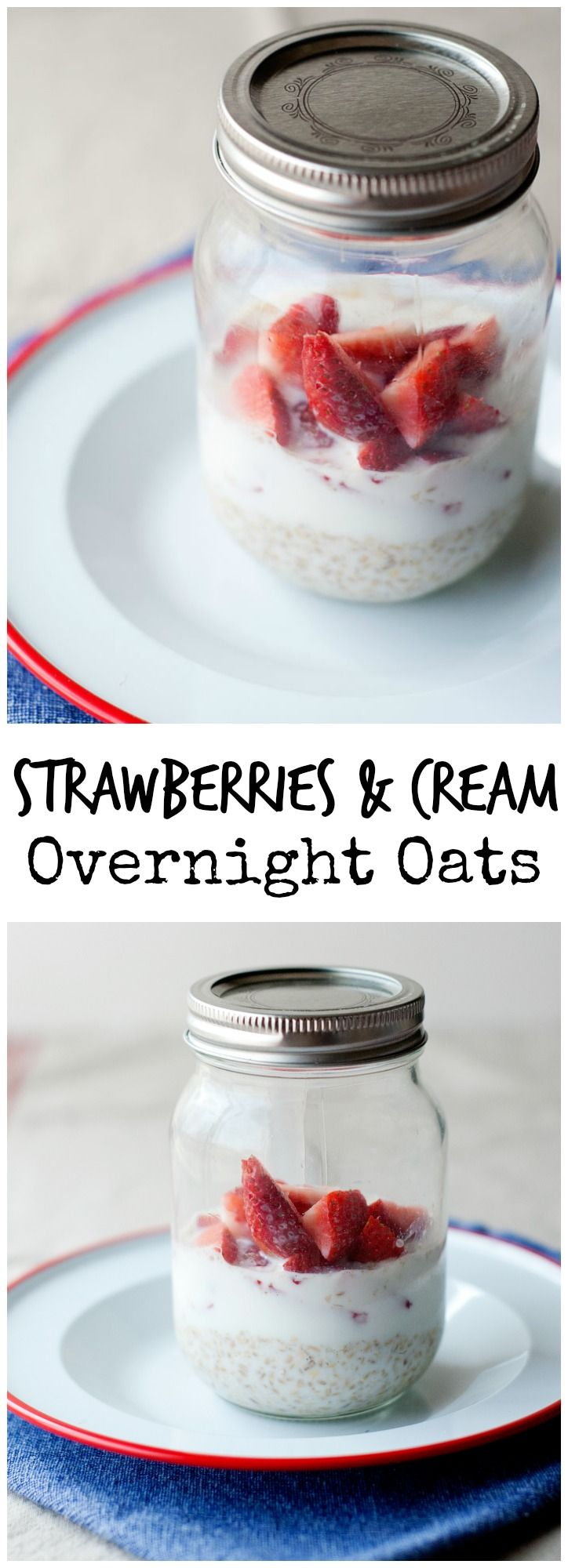 Strawberries & Cream Overnight Oats from LauraFuentes.com
