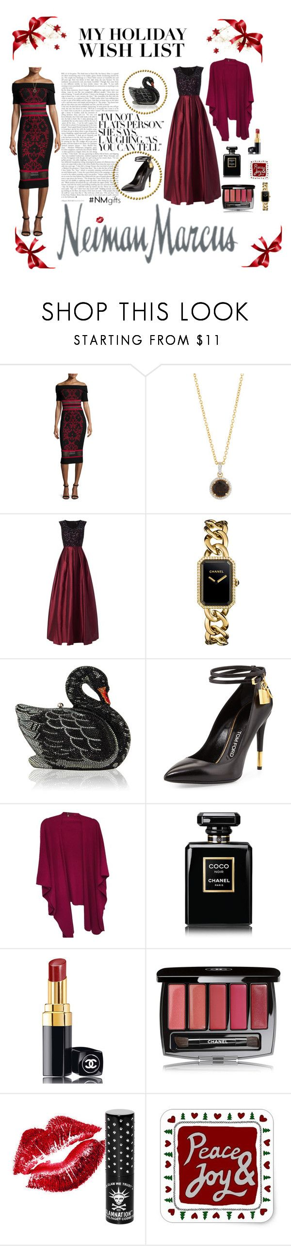 """Newman Marcus Holiday Wish List!"" by donnamc1 ❤ liked on Polyvore featuring Neiman Marcus, RVN, Aidan Mattox, Chanel, Judith Leiber, Tom Ford and Manic Panic NYC"