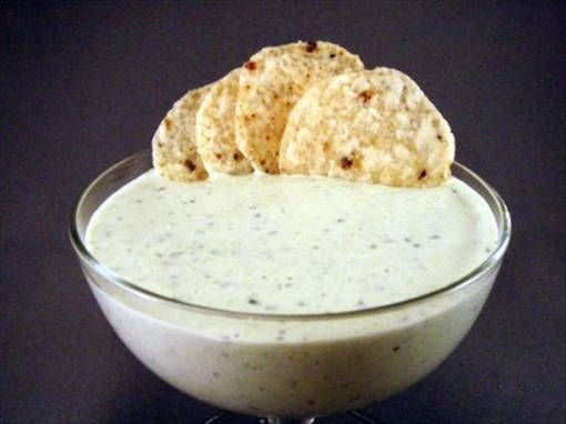 Chuys Creamy Jalapeno Dip: 1 1/3 cups mayonnaise 1/3 cup buttermilk 1/3 cup chopped jalapeno 1/3 cup green chilies 1/3 cup cilantro leaf 1 (1 ounce) packet dry ranch dressing mix Preparation of Chuys Creamy Jalapeno Dip: Mix ingredients in blender or food processor, until smooth. Serve with tortilla chips, or as a salad dressing