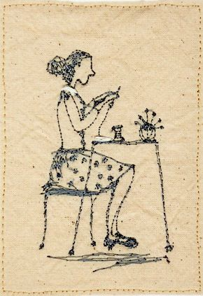 EllesHeart Loves ~ Stitcheries #Stitcheries #Stitching #Embroidery #Designs #Patterns #Tutorials #HowTos #Blackwork #Redwork #Colorwork ~ Betty by Michelle Holmes - Betty embroiders the truth