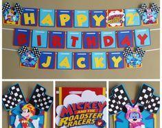 Mickey Roadster corredores Banner, Banner de cumpleaños de Mickey Roadster corredores, Mickey y el cumpleaños de corredores Roadster