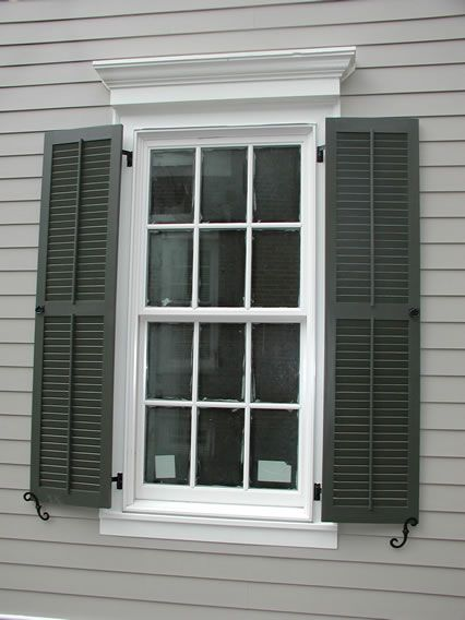 Classic louvered shutter with false tilt rod mounted on siding house ideas oh no for Exterior louvered window shutters