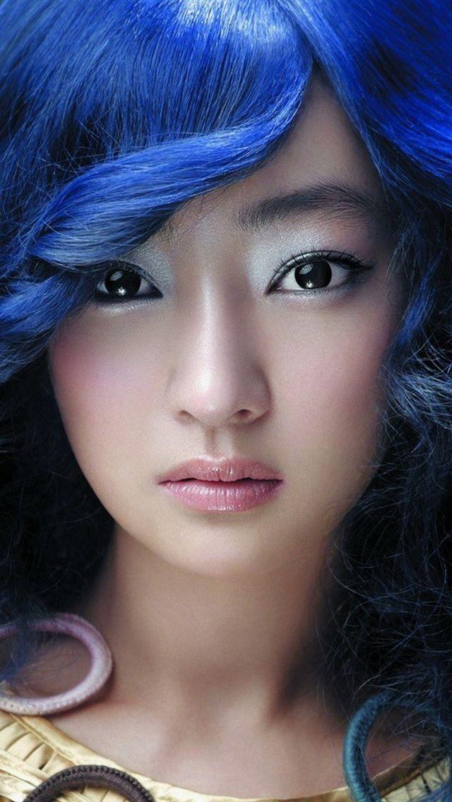 Красивые синие волосы азиатские девушки iPhone 5 (5S) (5C) обои - 640x1136