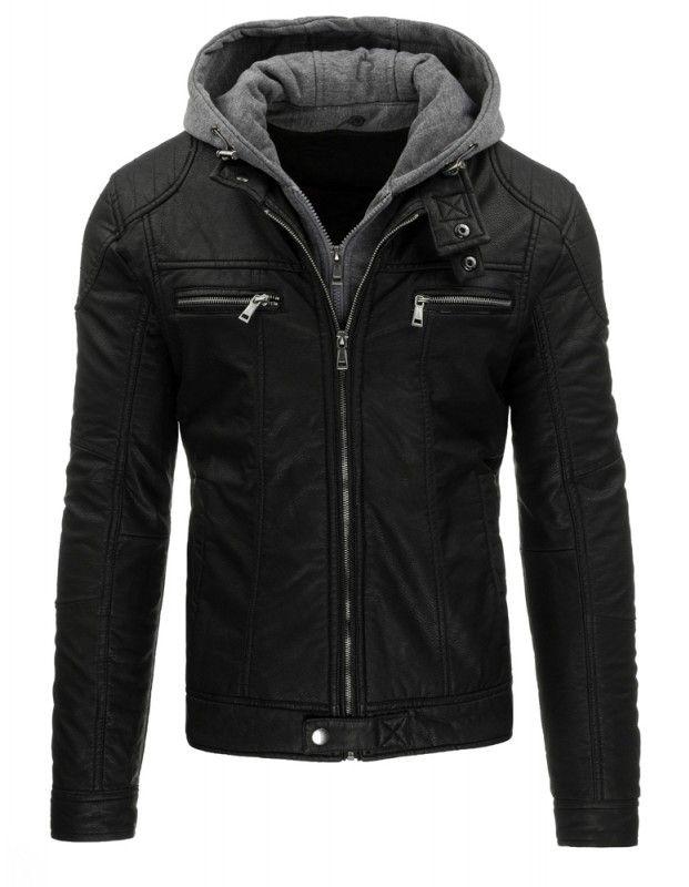 Pánská kožená bunda - Werut, černá s kapucou