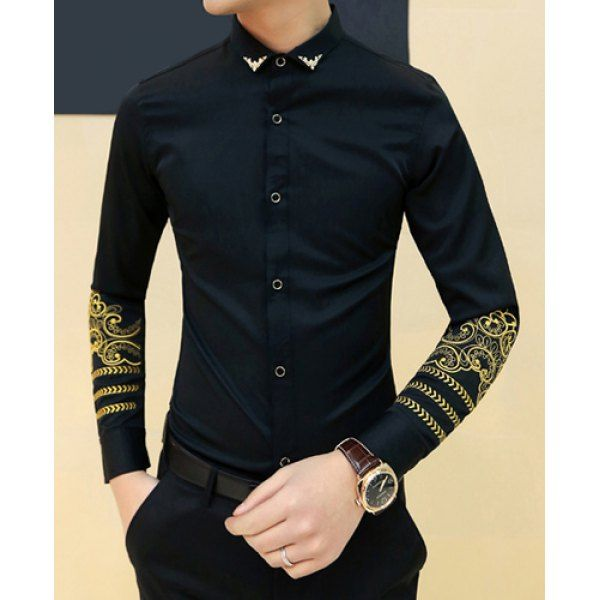 Fashion Metal Embellished Turn-down Collar Slimming Embroidery Long Sleeves Men's Shirt