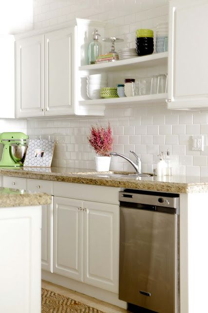 Exposed Shelves, Subway Tile to the ceiling me oh my!: my home tour