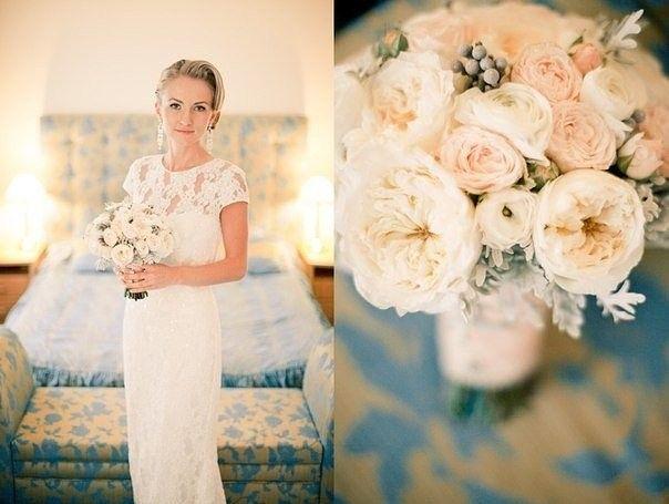 Нежнейший букет невесты в пастельных тонах персикового и розового с элегантными английскими садовыми розами