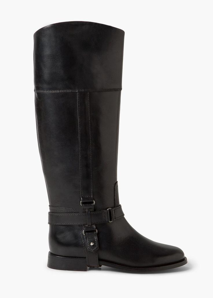 Hoge leren laarzen - Schoenen voor Dames   MANGO