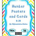 Rainbow Bright Chevron Number Posters and Cards Numbers 0-20  This is a set of Number posters and cards for your classroom.  There are 3 different sized posters/cards. 38 pages. $