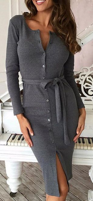 Long Sleeve Button Bodycon Dress with Belt