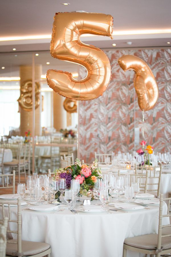 giant gold balloon table numbers! // photo by Kaysha Weiner // floral design by Blue Magnolia Events