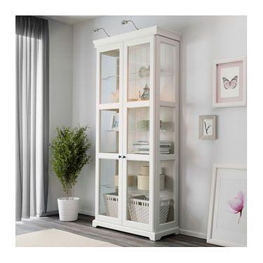 IKEA LIATORP glass-door cabinet 2 fixed shelves for high stability. #GlassShelvesIkea