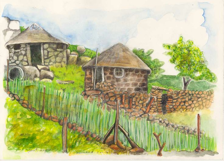 Watercolour painting, Semonkong, Lesotho. 2013 (23.5mm x 170mm)