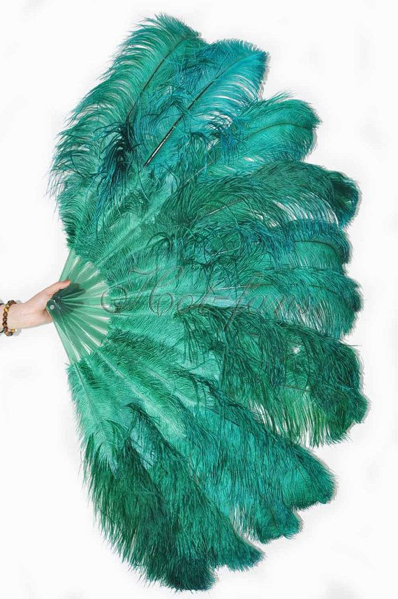 Burlesque Dance Forest Green 2-layer Ostrich Feather door lawrencelv
