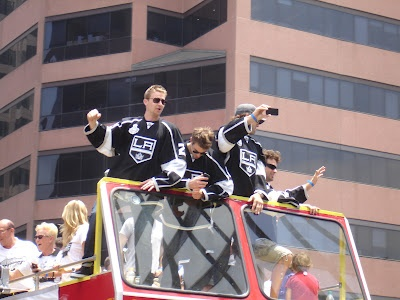 Dodgers Blue Heaven: Kings Parade Photos.  Here's Trevor Lewis, Brad Richardson, Jarret Stoll and Justin Williams.