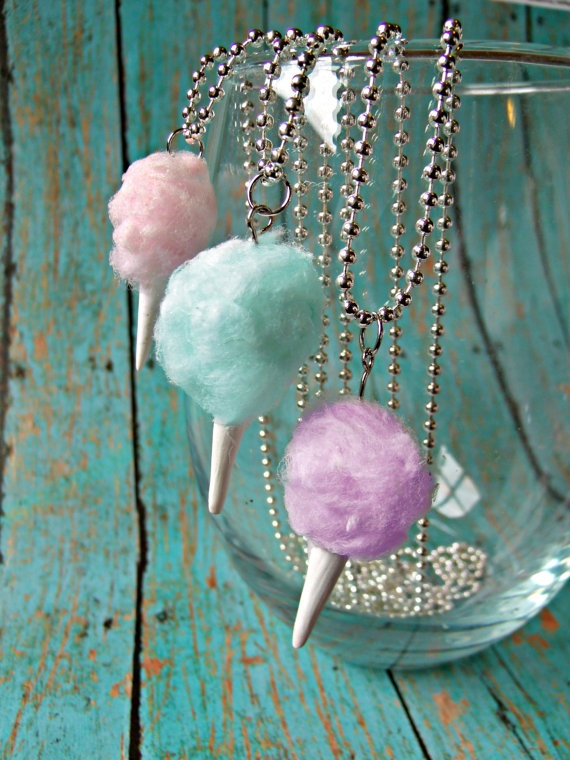 Miniature Food Jewelry Cotton Candy Necklace in Blue Carnival Circus or Fair Jewelry Spun Sugar. $15.00, via Etsy.
