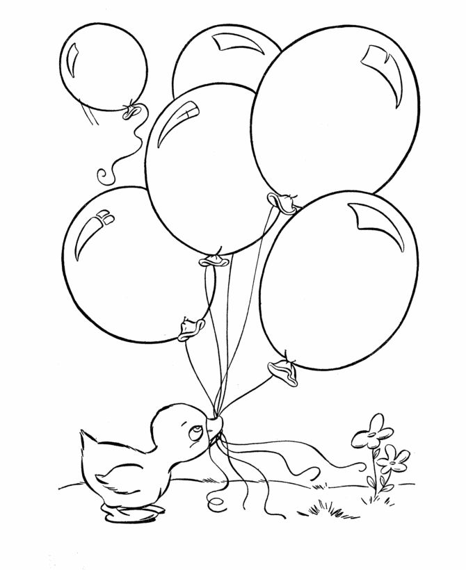 Easter ducks coloring page baby duck with balloons for Coloring pages of ducks