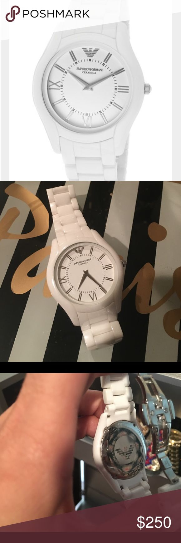 💎Emporio Armani White Ceramic Watch💎 Emporio Armani White Ceramic Watch! I have worn this watch a few times but it is still like new! I had a few links taken out so it is made for a small wrist! 😀 Emporio Armani Accessories Watches