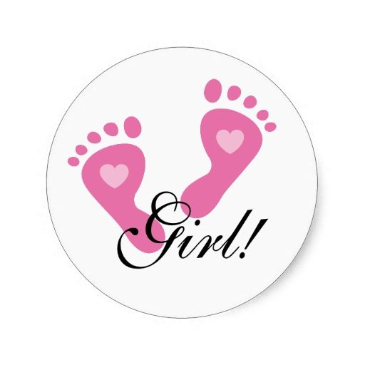 Baby girl stickers with foot prints