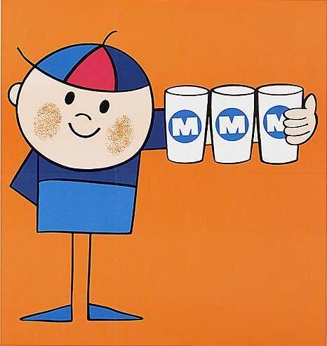 Jaren '60 Joris Driepinter. Met Melk Meer Mans. Drie glazen melk per dag moet, drie glazen doet je goed.