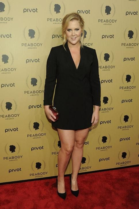 The tuxedo jacket as a dress, done to perfection by a sexy Amy Schumer
