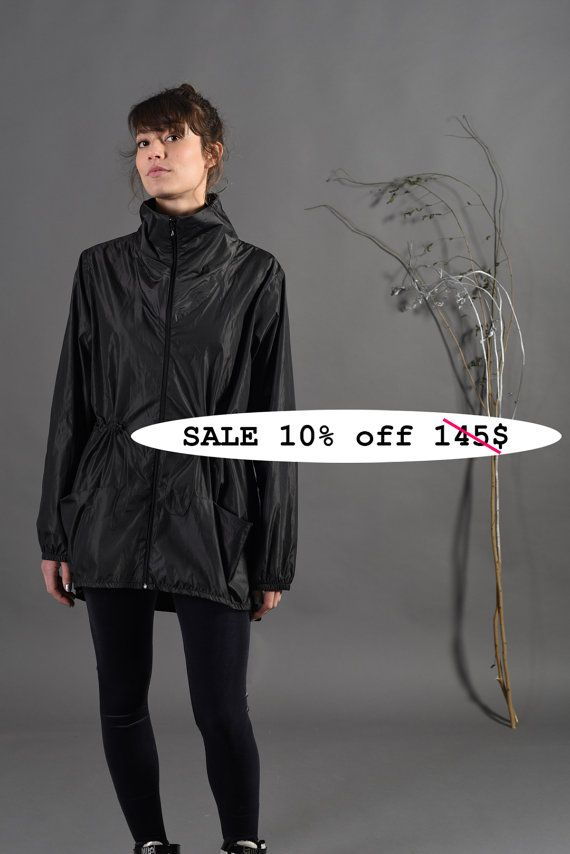 Sale 10% off Raincoat with hood, black raincoat, black rain jacket ...