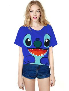Stitch Cosplay Costume Women's Blue Short Sleeve T Shirt