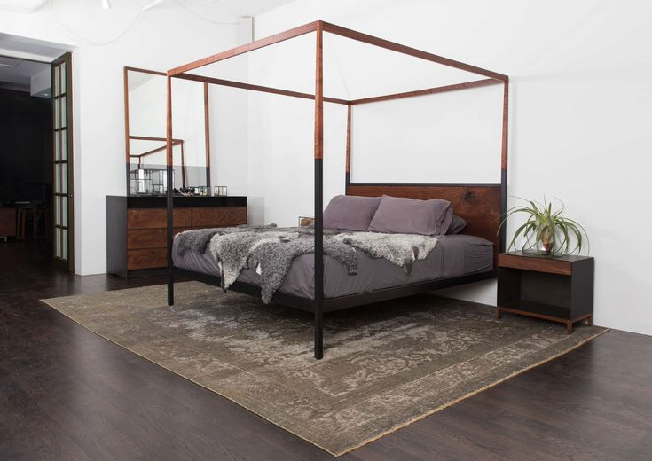 The Canopy Bed is a contemporary interpretation of the Victorian canopy bed. It's comprised of a 1-1/2-inch steel tube base that transitions into wood as it ...