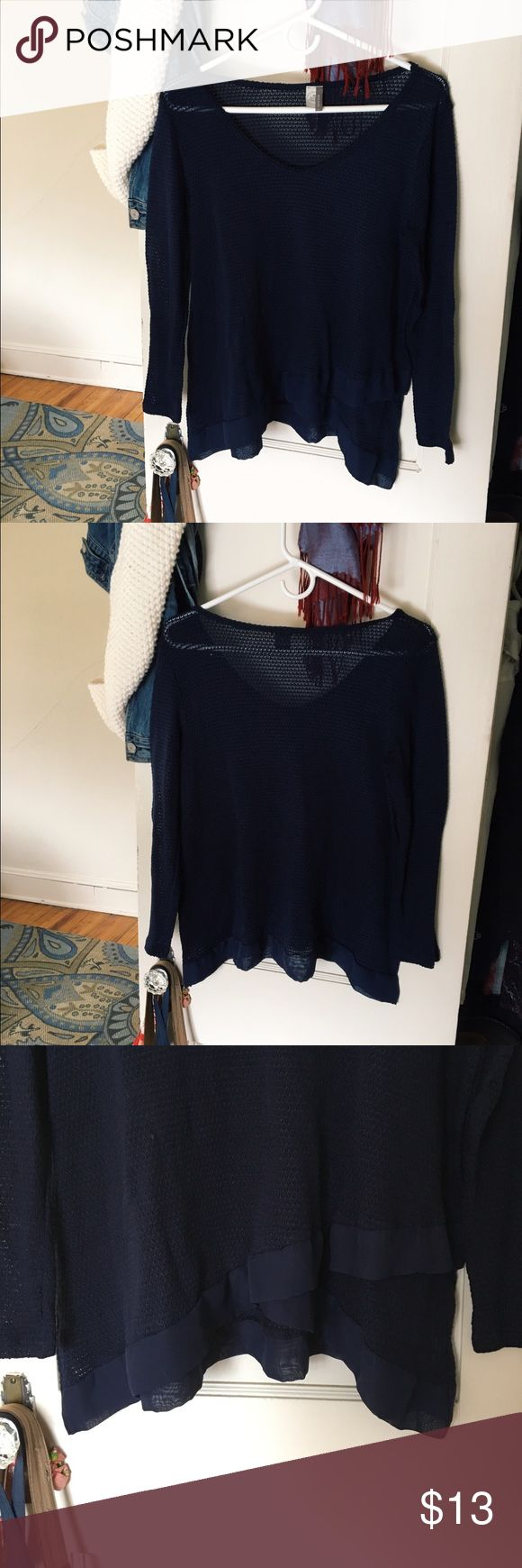 Navy Long Sleeve Top Navy top from boutique Ruby & Jenna. Size Large semi see-through. Lulu's Tops Blouses
