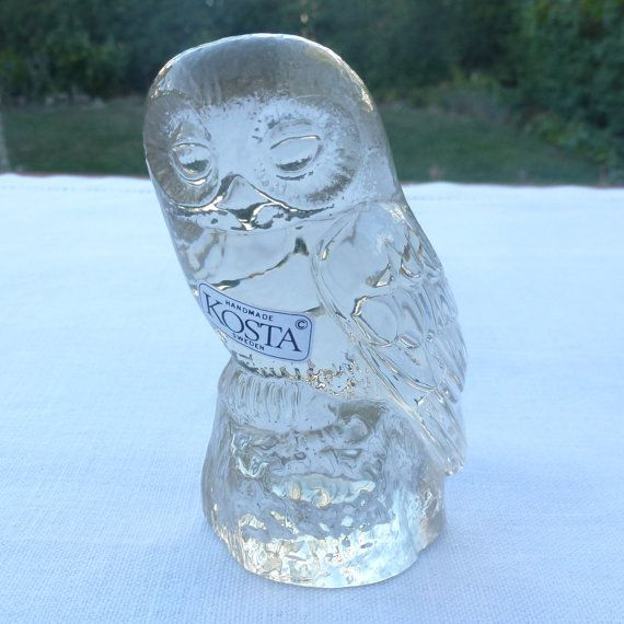 Paul Hoff World Wildlife Fund owl glass figurine by ElineaVintage