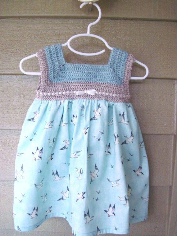 Crochet vestido de bebé, vestido del bebé, vestido del verano bebé, bebé pájaro vestido, vestido azul del bebé, vestido de playa bebé, vestido de playa de niño de primavera
