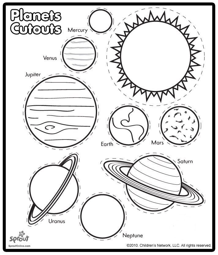 "Planets Cutouts - can do a ""Pin the Sun at the Center of the Solar System"" game"