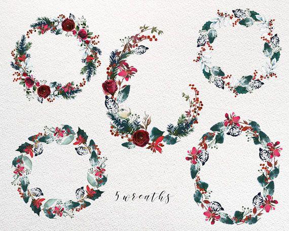 Ces Noël Bordo et collection de clipart fleurs aquarelle Indigo sera idéal pour les cartes, plaquettes, mariage ou inviatiotions de douche de bébé, décoration murale art, scrapbooking romantique conpositions et dessins.  Vous recevez  * 5 PNG couronnes - 12 de large.  Tous sont de