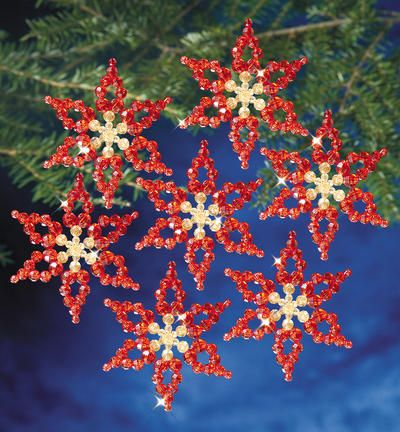 "Holiday Beaded Ornament Kit-Poinsettias 3.5"" Makes 6"