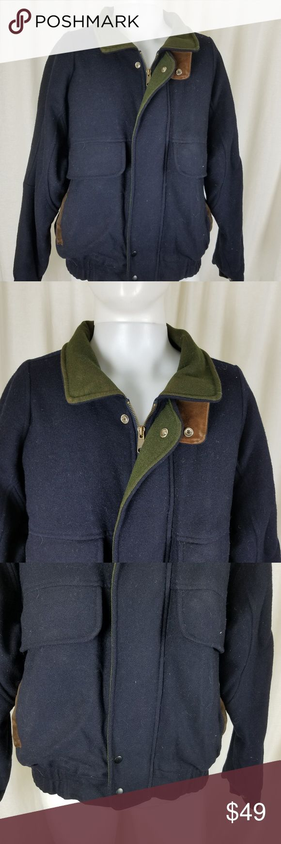 """Woodsman ATA Wool &  Leather Bomber Jacket Mens M Vintage Woodsman ATA Wool Bomber Jacket.    Navy Blue & Olive Green with Brown Leather Trim.  Men's size medium  Good broken in vintage condition with normal signs of wear.   Actual measurements:  Armpit to armpit approx 25.5"""" Shoulder seam to shoulder seam approx 18.5"""" Across the waistband approx 20"""" Sleeve length from shoulder seam to cuff approx 25"""" Length down the back approx 27"""" Woodsman ATA Jackets & Coats Bomber & Varsity"""