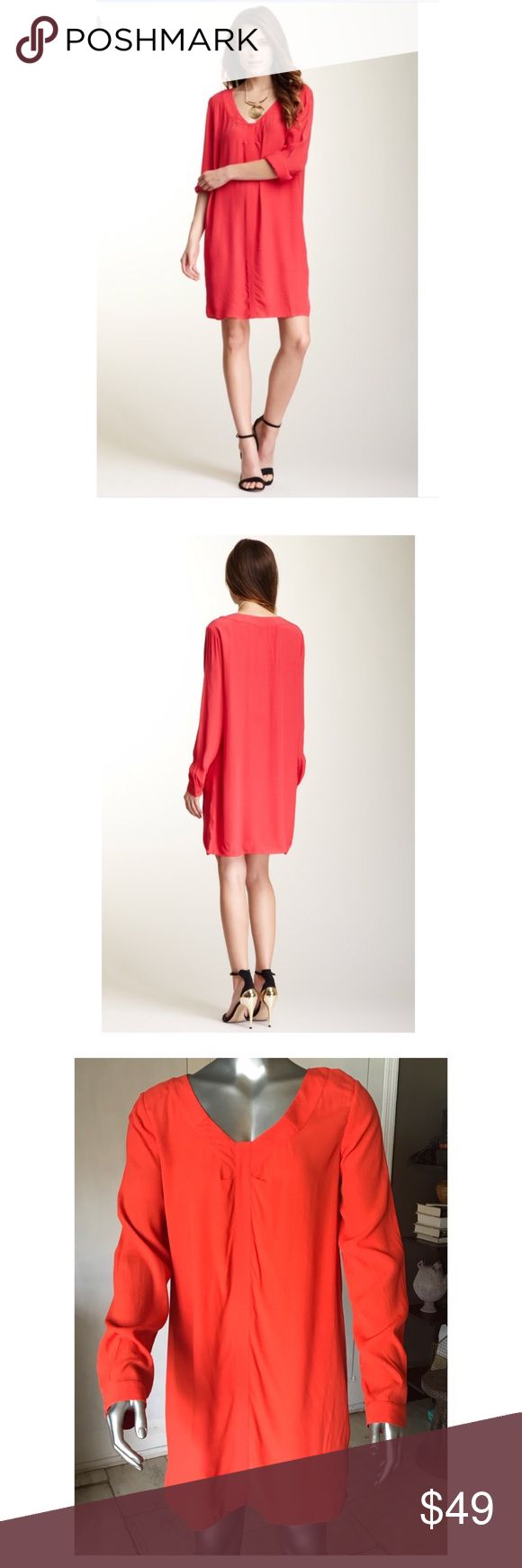 BCBG MAXAZRIA Lipstick Red Levin Tunic Dress BCBG MAXAZRIA lipstick red tunic dress. Lovely top stitch details.  Very well made. Fits great. Size M. No flaws. BCBGMaxAzria Dresses