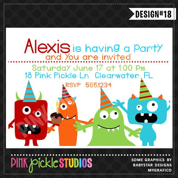 74 best Shop INVITATIONS from Pink Pickle Parties images on - best of invitation card birthday party