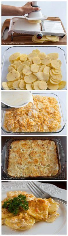 PATATAS GRATINADAS 4 dientes de ajo Media cebolla amarilla 3 libras de papas Especias y Respotería 1 cucharadita de pimienta Negro 1 cucharadita de sal