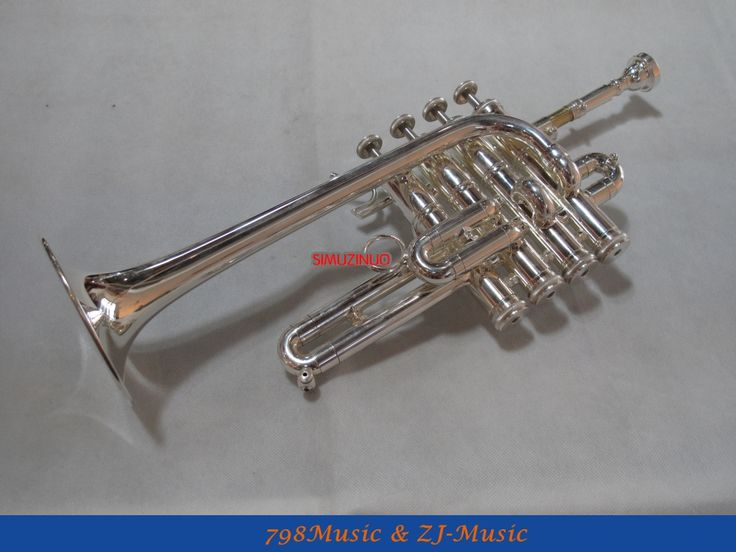379.05$  Buy now - http://aliisl.worldwells.pw/go.php?t=32679800512 - NEW Silver Plated Piccolo Trumpet Bb/A horn 4 Monel valves With Case 379.05$