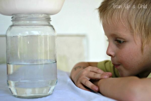 Train Up a Child: How Does it Rain? Put paper cup on the jar with water in it. In the bowl put ice. Observe