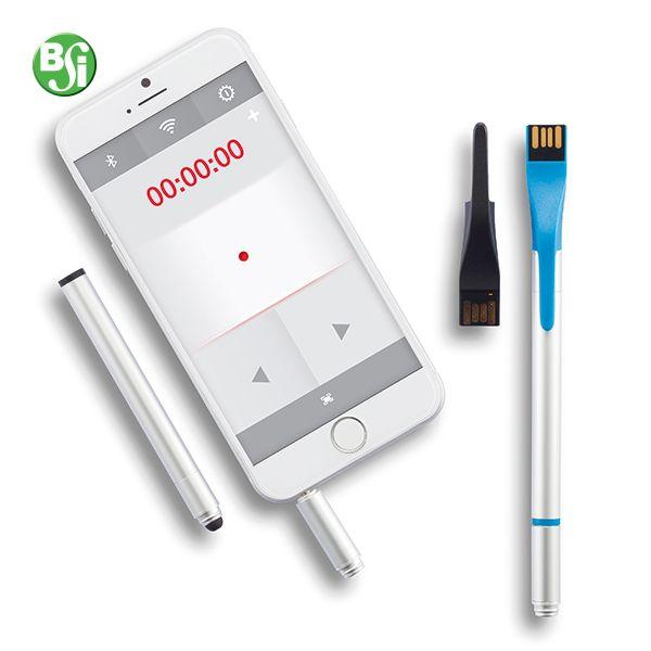 Point | 03 è un puntatore laser e presentatore controllato tramite un APP. Il tappo della penna ha una chiavetta USB 2.0 integrata. Il laser pointer è removibile e una volta inserito nello smartphone potrà essere controllato dall'apposita APP. Allo stesso momento potrai utilizzare la penna in alluminio o il touchscreen.   #gadget #touchscreen #puntatorelaser