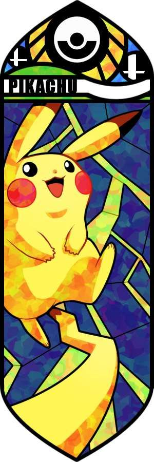 Great vector illustration here.  The detail on Pikachu here is incredible, and the blend of colors in some parts of his body is fantastic.  It really feels like a stained glass mosaic.  The layers here fit great, and the pokeball at the top fits great at the top.