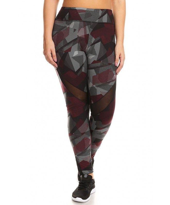 a25b2904252 Womens Plus Size Printed Activewear Sport Pants Yoga Leggings -  Mesh-abstract Print - CP187763MZT