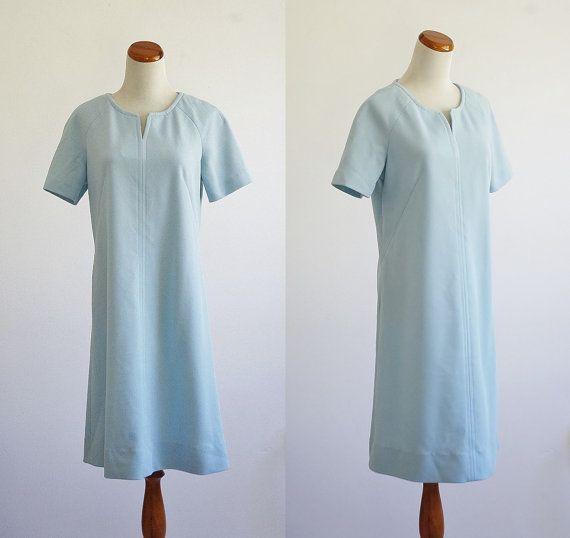 Vintage Shirt Dress -- Light Blue Short Sleeve Dress ...