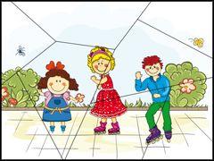 Puzzel, kinderen op straat / Puzzle à imprimer - les enfants et les patins à roulettes